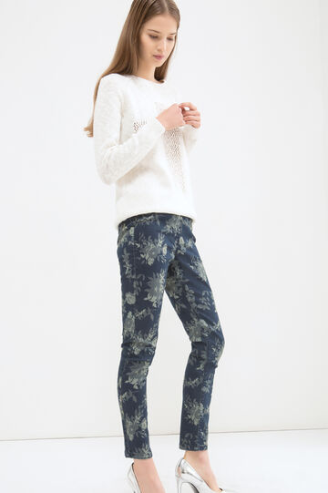 Jeggings stretch fantasia fiori, Blu scuro, hi-res