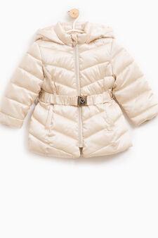 Down jacket with hood and belt, Beige, hi-res