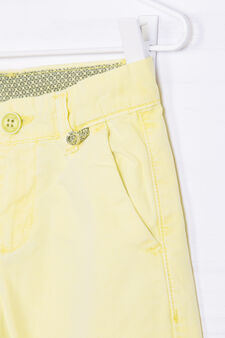 Solid colour cotton Bermuda chinos, Lime Green, hi-res