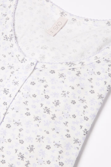 Pyjamas in 100% cotton with floral top, White print 1, hi-res
