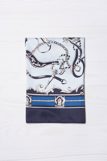 Patterned scarf, Navy Blue, hi-res