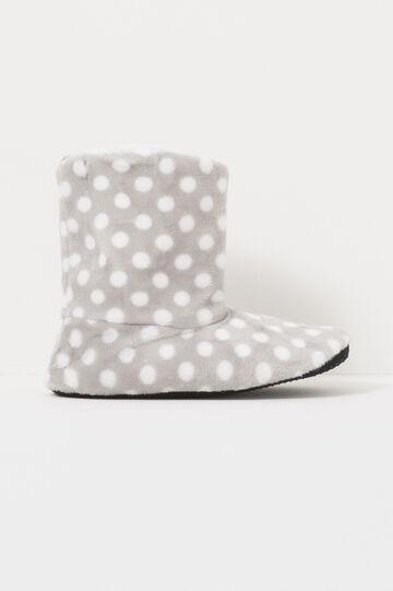Pantofole stivaletti a pois, Bianco/Grigio, hi-res