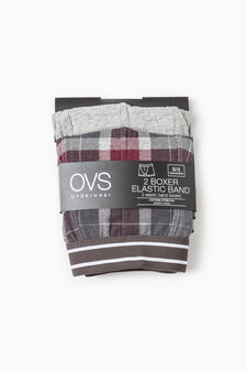 Two-pack boxer shorts solid colour and check, Claret Red, hi-res
