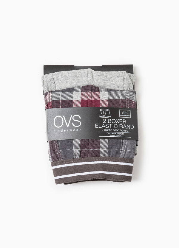 Two-pack boxer shorts solid colour and check | OVS