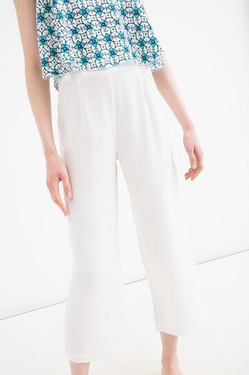 Pantaloni capri tinta unita, Bianco, hi-res