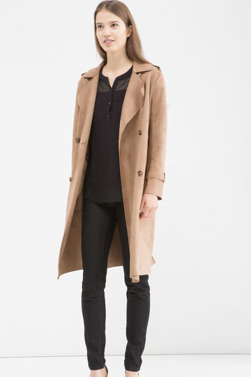Suede look trench, Beige, hi-res