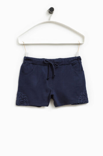 Shorts stretch con pizzo Smart Basic, Blu navy, hi-res
