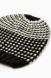 Cappello a cuffia tricot fantasia, Bianco/Nero, hi-res