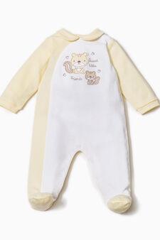 Solid colour 100% cotton onesie, Yellow, hi-res