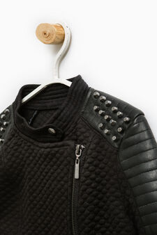 Jacket with studs and asymmetrical zip fastening, Black, hi-res