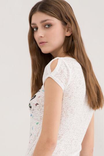 Semi-sheer cotton blend T-shirt