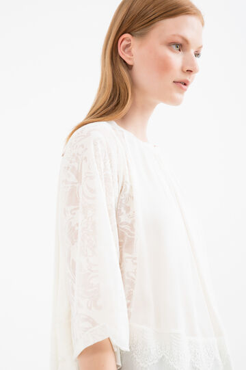 Blusa misto cotone tinta unita, Bianco latte, hi-res