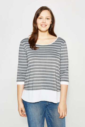 Curvy striped T-shirt with lurex