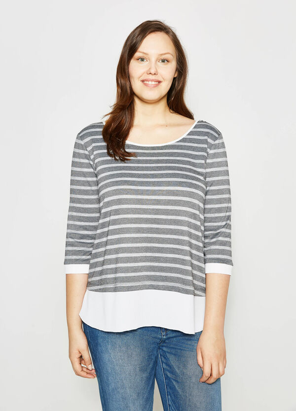 Curvy striped T-shirt with lurex | OVS