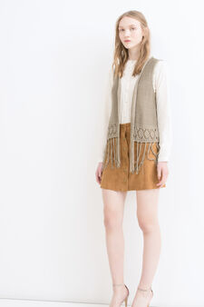 Knitted waistcoat with fringe, Mud Brown, hi-res