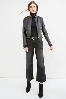 Flare-fit jeans with fading, Black, hi-res