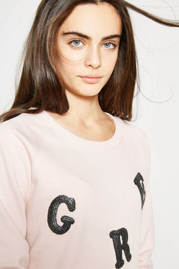 Teen solid colour sweatshirt with embroidery, Pink, hi-res