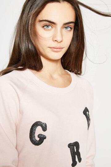 Sudadera en color liso con bordados Teen, Rosa, hi-res