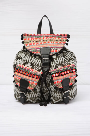 Patterned cotton backpack, Black/White, hi-res