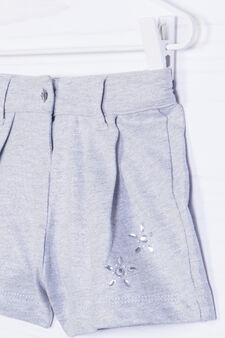 Solid colour 100% cotton shorts, Grey/Silver, hi-res