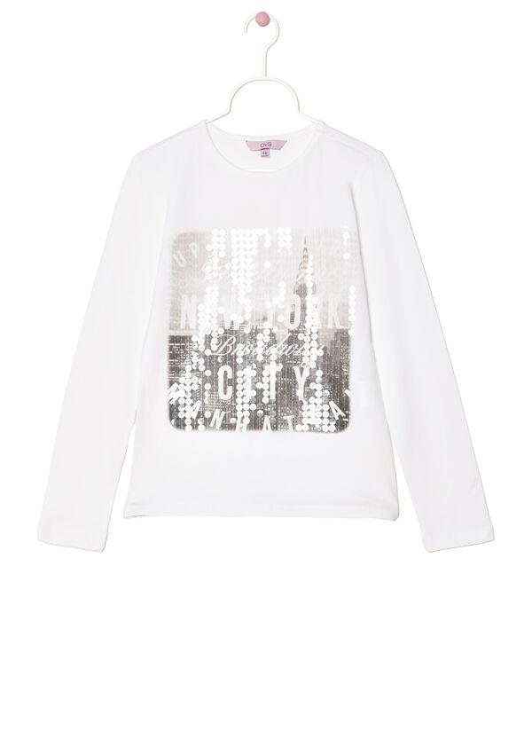 Printed stretch cotton T-shirt | OVS