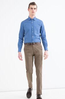 Rumford solid colour cotton shirt, Blue, hi-res