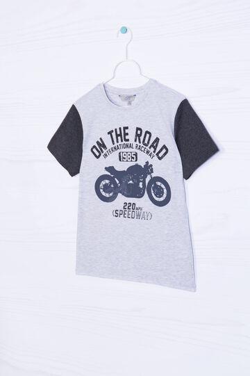 T-shirt puro cotone stampa, Grigio melange, hi-res