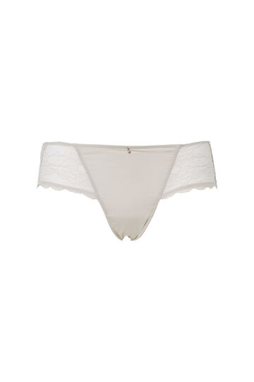 Stretch French knickers with lace, Light Grey, hi-res