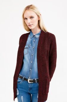 Long chunky knit cardigan, Multicolour, hi-res
