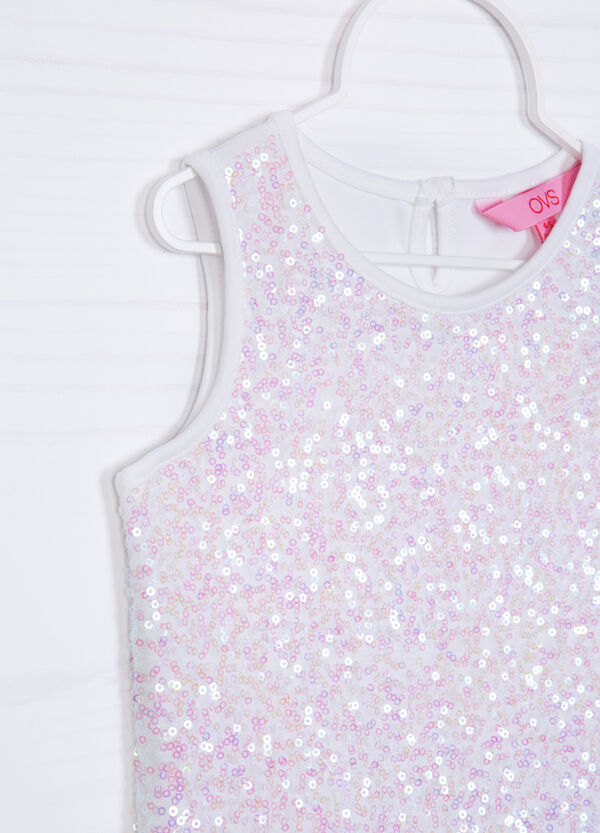 Stretch cotton top with sequins | OVS