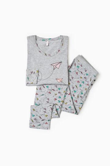 Patterned pyjamas in 100% cotton, White/Grey, hi-res