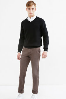 G&H solid colour stretch cotton trousers, Grey, hi-res