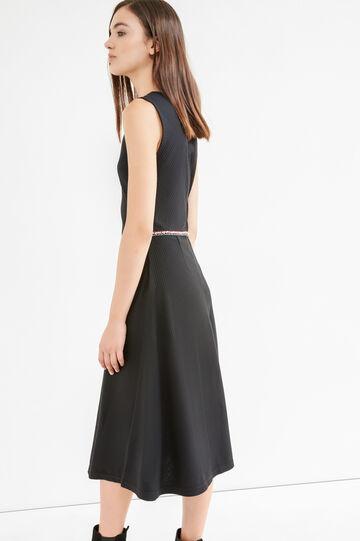 Sleeveless stretch midi dress, Black, hi-res