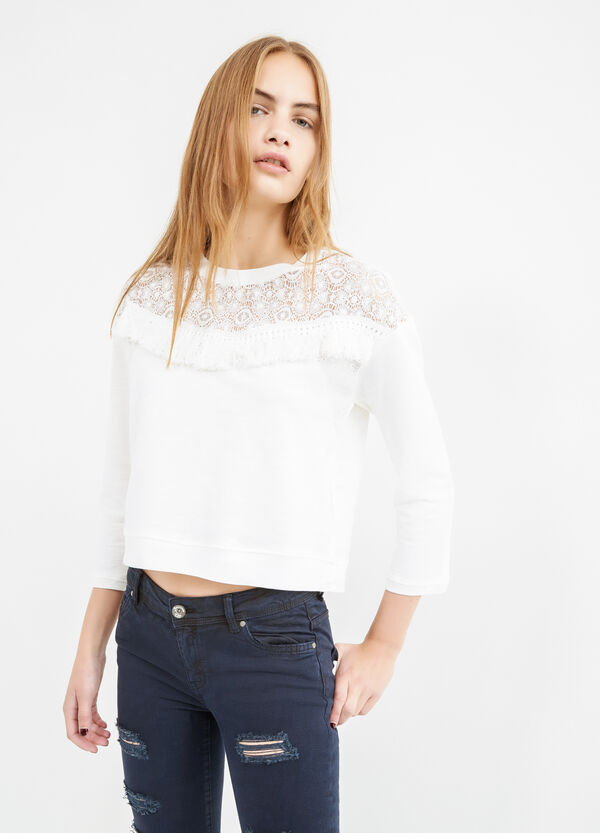 Cotton blend crop sweatshirt with lace and fringes | OVS