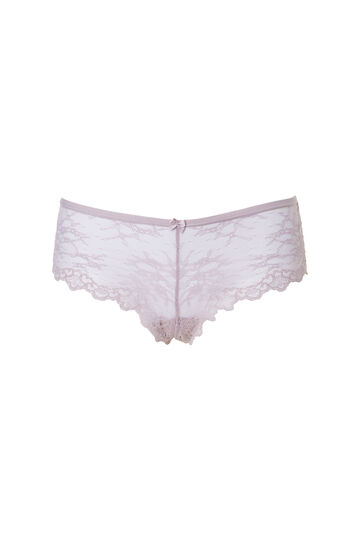 Lace French knickers with bow, Mud Brown, hi-res