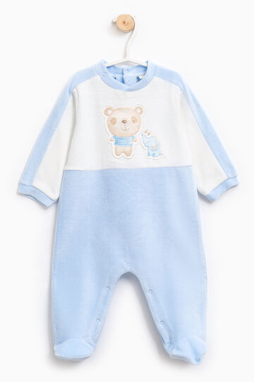Cotton sleep suit with patches, White/Light Blue, hi-res
