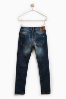 Jeans slim fit used con abrasioni, Blu scuro, hi-res