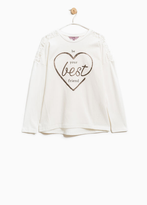 100% cotton T-shirt with embroidered insert | OVS