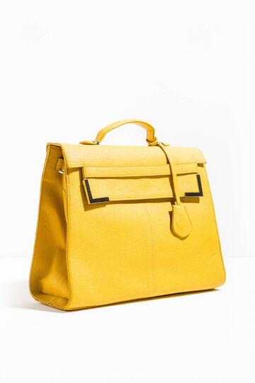 Hammered-effect briefcase bag, Mustard Yellow, hi-res
