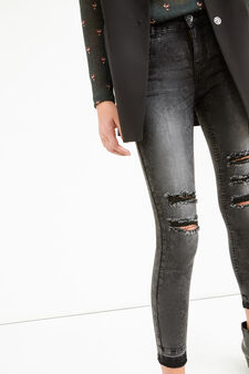 Worn-effect, ankle-length, stretch jeans with rips, Black, hi-res