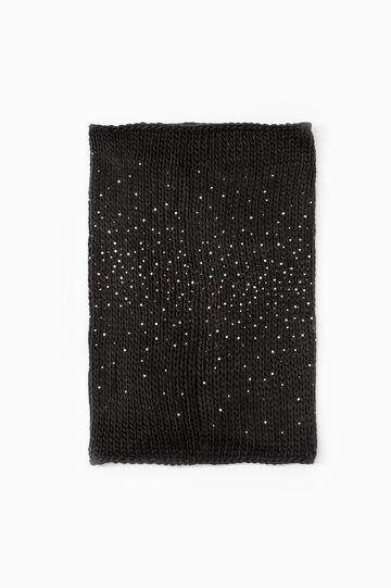 Scaldacollo tricot con strass, Nero, hi-res