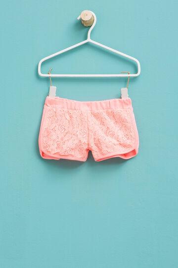 Shorts en algodón elástico con encaje