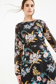 Long-sleeved dress with floral print., Black, hi-res