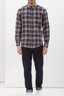 Regular-fit shirt in 100% cotton, Blue/Brown, hi-res