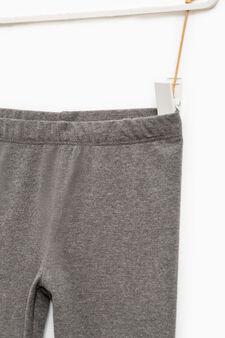 Solid colour stretch cotton leggings, Dark Grey, hi-res