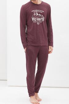 100% cotton printed pyjamas, Claret Red, hi-res