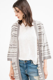 Long cardigan with patterned pockets, Grey, hi-res