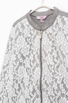 100% cotton sweatshirt with lace, White/Grey, hi-res