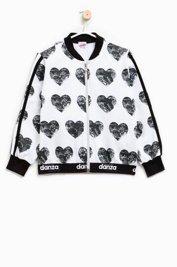 Dimensione Danza sweatshirt with hearts print, White/Black, hi-res