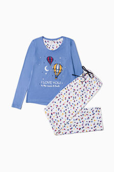 100% cotton pyjamas with hot-air balloon print, Light Blue, hi-res